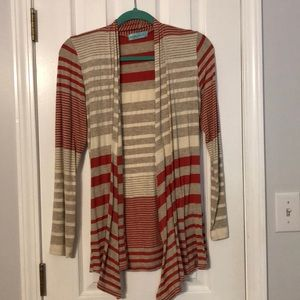 Knit cardigan tan and coral